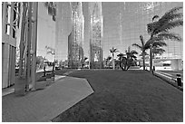 Reflections in  Crystal Cathedral, home of Televangelist Robert Schuller. Garden Grove, Orange County, California, USA (black and white)