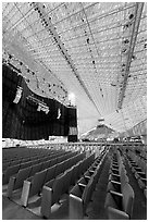 Interior of the Crystal Cathedral, with seating for 3000. Garden Grove, Orange County, California, USA ( black and white)