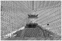 Interior detail of the Crystal Cathedral. Garden Grove, Orange County, California, USA (black and white)