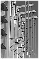 Modern arrangement of Bells in the Crystal Cathedral complex. Garden Grove, Orange County, California, USA (black and white)