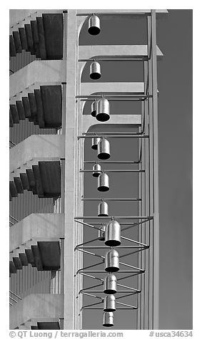 Bells in the Crystal Cathedral campus. Garden Grove, Orange County, California, USA (black and white)