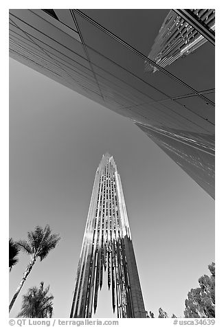 Bell tower and facade of the Crystal Cathedral, designed by Philip Johnson. Garden Grove, Orange County, California, USA (black and white)