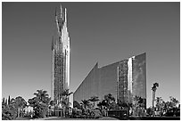 Crystal Cathedral, designed by architect Philip Johnson, afternoon. Garden Grove, Orange County, California, USA (black and white)
