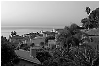 Villas and mediterranean vegetation at dawn. Laguna Beach, Orange County, California, USA (black and white)