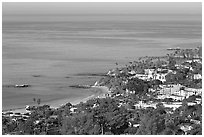 Coast seen from the hills. Laguna Beach, Orange County, California, USA (black and white)