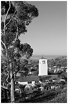 Eucalyptus and church in mission style. Laguna Beach, Orange County, California, USA ( black and white)