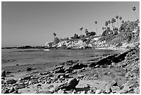 Tidepool and Rockpile Beach. Laguna Beach, Orange County, California, USA ( black and white)