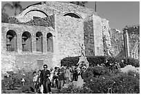 School children visiting the mission. San Juan Capistrano, Orange County, California, USA ( black and white)