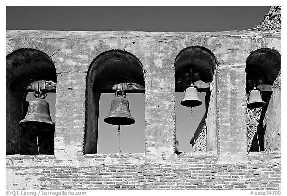 Bell Wall. San Juan Capistrano, Orange County, California, USA (black and white)