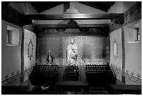 Side chapel dedicated to St Peregrine. San Juan Capistrano, Orange County, California, USA ( black and white)