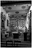 Altar and retablo from Barcelona in the Serra Chapel. San Juan Capistrano, Orange County, California, USA (black and white)