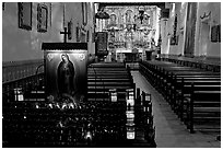 Serra Chapel, the only remaining  church where Fr Serra said mass. San Juan Capistrano, Orange County, California, USA (black and white)