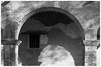 Arch in central courtyard. San Juan Capistrano, Orange County, California, USA ( black and white)