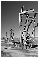Oil pumping machines, San Ardo Oil Field. California, USA (black and white)