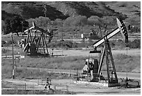 San Ardo Oil field. California, USA ( black and white)
