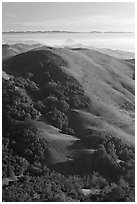 Hills, with coasline and Morro rock in the distance. California, USA (black and white)
