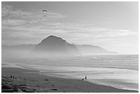 Motorized paraglider, women walking dog, with Morro Rock in the distance. Morro Bay, USA ( black and white)
