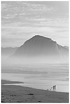 Women walking dog on the beach, with Morro Rock behind. Morro Bay, USA ( black and white)