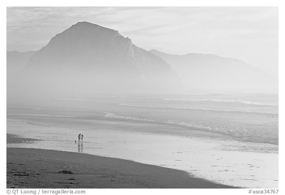 Couple and dog reflected in wet sand, with Morro Rock behind, sunset. Morro Bay, USA (black and white)