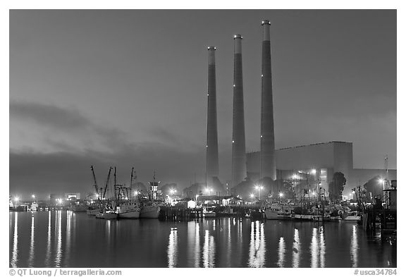 Morro Bay power plant at dusk. Morro Bay, USA