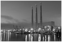 Morro Bay power plant at dusk. Morro Bay, USA ( black and white)