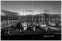 Harbor at dusk. Morro Bay, USA ( black and white)
