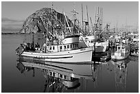 Fishing boats with reflections and Morro Rock, early morning. Morro Bay, USA (black and white)