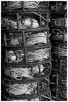 Crab traps close-up. Morro Bay, USA (black and white)