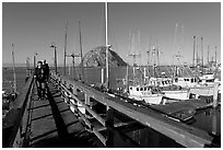 People walking on a deck in the harbor. Morro Bay, USA (black and white)