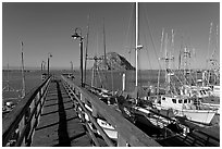 Deck, harbor, and Morro Rock. Morro Bay, USA (black and white)