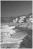 Beachfront homes  near Rincon Island. California, USA (black and white)
