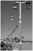 Boarwalk and aerial gondola. Santa Cruz, California, USA ( black and white)