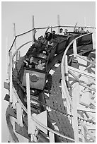 Roller coaster car, Beach Boardwalk. Santa Cruz, California, USA (black and white)