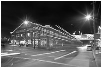 Cannery row at night. Monterey, California, USA ( black and white)