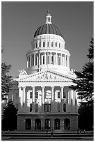 State Capitol of California, late afternoon. Sacramento, California, USA ( black and white)