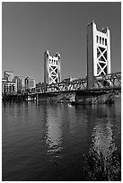 Tower bridge and Sacramento River, late afternoon. Sacramento, California, USA ( black and white)