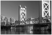 Tower bridge, a 1935 drawbridge, late afternoon. Sacramento, California, USA (black and white)