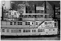 Last light on the Spirit of Sacramento riverboat. Sacramento, California, USA (black and white)