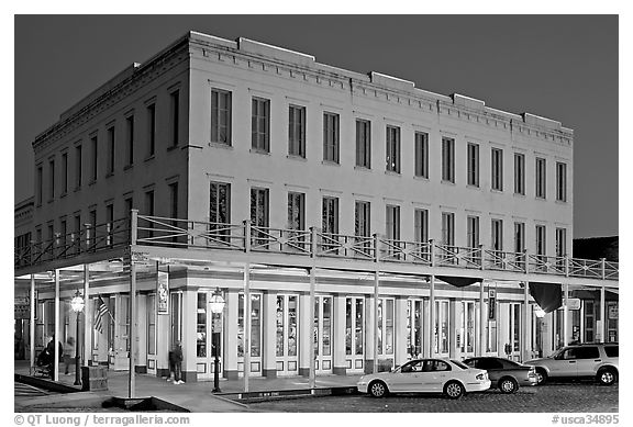 Gold-rush area building at night,  Old Sacramento. Sacramento, California, USA (black and white)