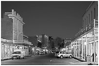 Old Sacramento street at night. Sacramento, California, USA (black and white)