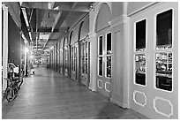 Old Sacramento gallery at night. Sacramento, California, USA (black and white)