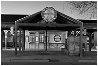 Southern Railroad station at dusk. Sacramento, California, USA (black and white)