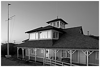 South Bay Yacht club at twilight, Alviso. San Jose, California, USA (black and white)
