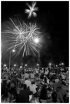 Families watching fireworks, Independence Day. San Jose, California, USA (black and white)