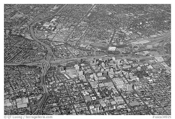 Aerial view of downtown. San Jose, California, USA (black and white)