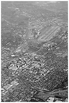 Aerial view of downtown and international airport. San Jose, California, USA (black and white)