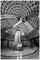 Refractive telescope, Lick obervatory. San Jose, California, USA ( black and white)