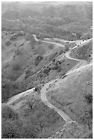 Winding road on the Mount Hamilton Range. San Jose, California, USA (black and white)