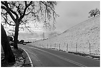 Mount Hamilton road, snowy hills,  and Silicon Valley. San Jose, California, USA (black and white)