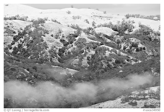 Snow and fog on Mount Hamilton Range. San Jose, California, USA (black and white)